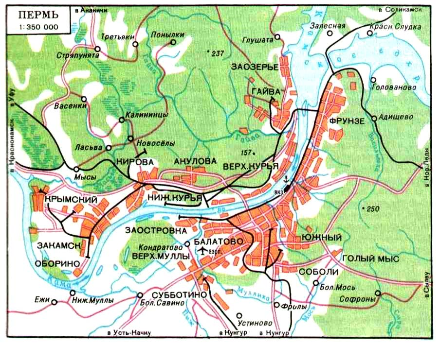 Подробная карта центра перми