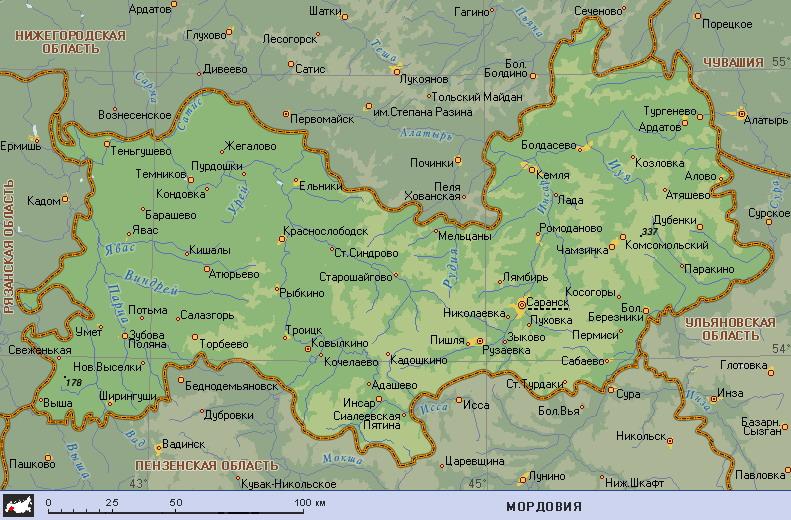 Карта Мордовии — Planetolog.ru