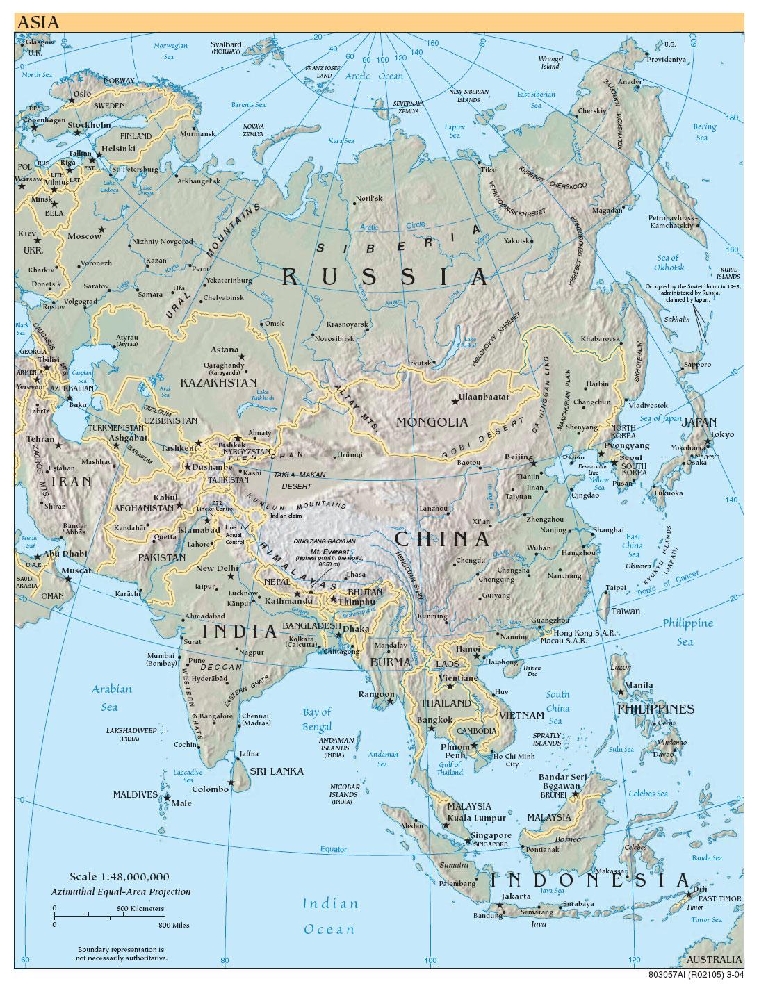 Географическая карта азии