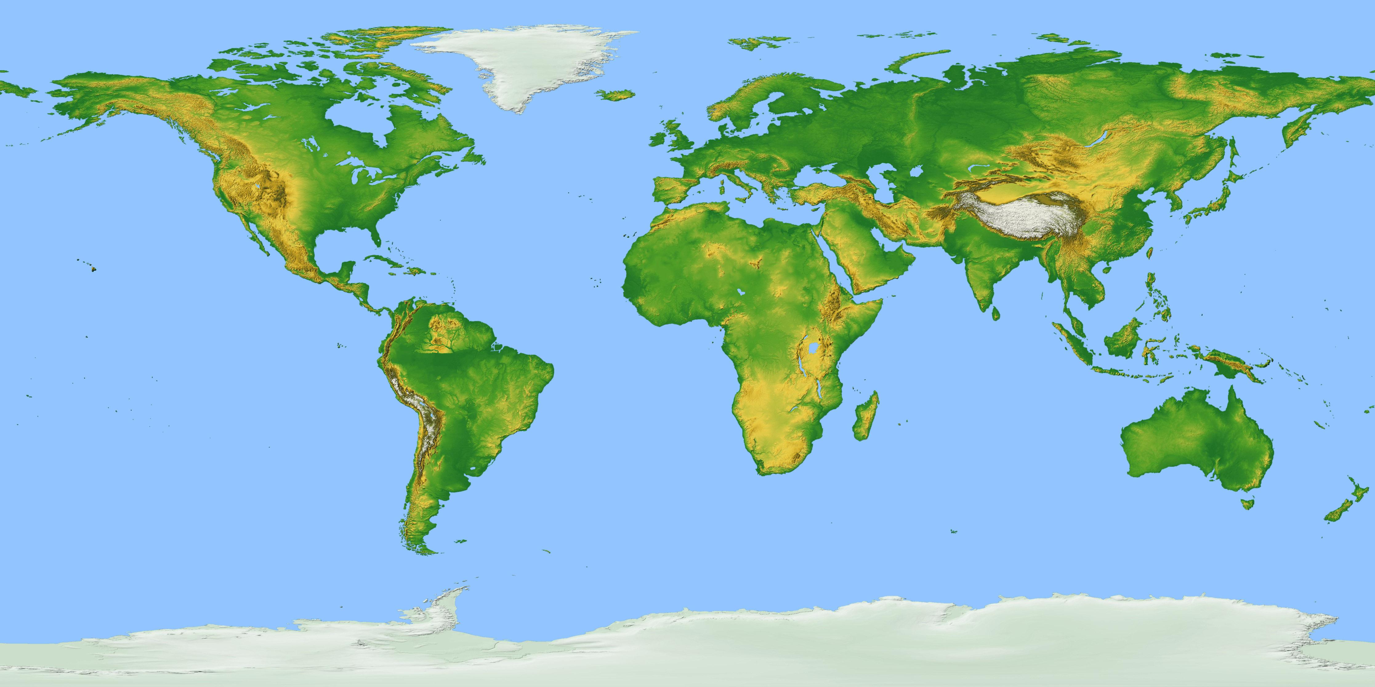 Карта рельефов мира