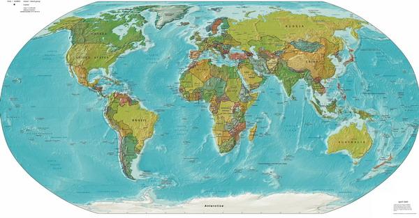 На физической карте мира страны на